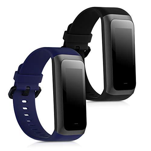 kwmobile 2X Pulsera Compatible con Xiaomi Huami Amazfit Cor 2 / Amazfit Band 2 -  Brazalete de Silicona Negro/Azul Oscuro sin Fitness Tracker