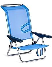 Solenny 50001072720095-Silla de Playa Cama Plegable 4 Posiciones Azul Respaldo Bajo con Asas, 77x60x14 cm, 50001072720095