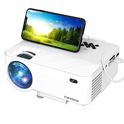 Mini Projector, TOPVISION Outdoor Movie Projector with Screen Mirroring, 1080P Video Projector 200