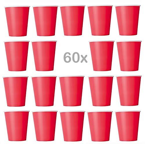 Lot de 60 gobelets jetables en carton écologique pour boissons froides et chaudes - Pour mariage, anniversaire, pique-nique, jardin, fête, barbecue