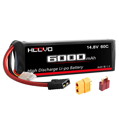 HOOVO 4S 14.8V 6000mAh 60C LiPo Battery Pack with Traxxas Connector with T and XT60 Plug for Heli Airplane Helicopter Quadcopter Drone