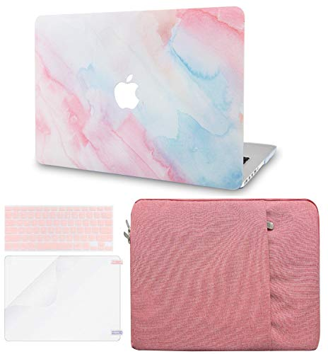 LuvCase 4in1 Laptop Case for MacBook Pro 13'(2020) with Touch Bar A2251/A2289 Hard Shell Cover, Pouch, Keyboard Cover & Screen Protector (Pale Pink Mist)