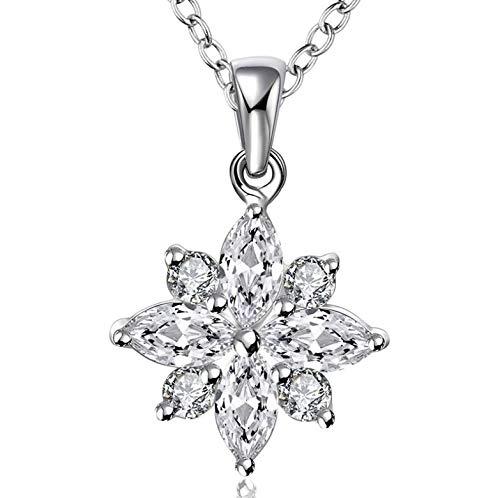 0 925 Damen Halskette Exquisite 925 Sterling Silber Halskette Modeschmuckkette Strass Schneeflocke Halskette und Anhänger Damen Herren Kragen 925 Sterling Silber Halskette