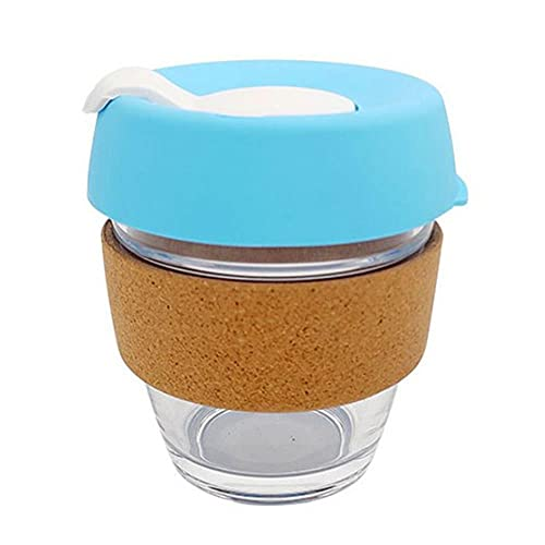 Taza de vidrio de viaje Taza de café Taza de vidrio resistente al calor Agua de coche Aislamiento MilCup Cubierta antideslizante Juego de vidrio 340ml-Azul