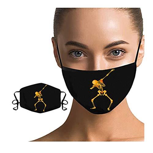 HuaMore 1/5 Stück Unisex Cool Drucken Mundschutz Schwarz Waschbar Kopfbedeckung Wiederverwendbar Fashion Gesichtsbedeckung