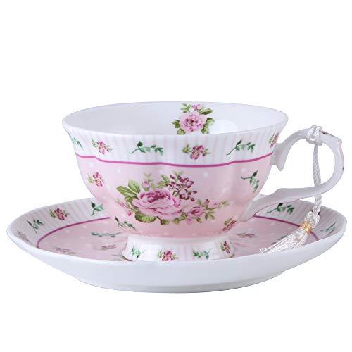 London Boutique Juego de 2 Tazas de té y platillos, diseño Vintage de Flora Rosa y Lavanda, Caja de Regalo (Rosa Rosa 1 Unidad)