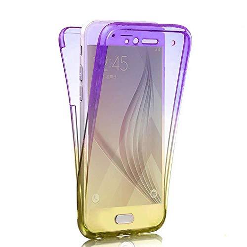 Homikon Siliko Hülle Kompatibel mit Samsung Galaxy A7 2018 360 Grad Fullbody Durchsichtige Gradient Handyhülle Ganzkörper-Koffer Komplettschutz Vorder und Rückseiten Schutzhülle Case - Lila Gelb
