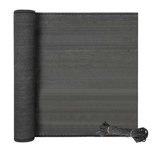 EUGAD Zaunblende Maschendrahtzaun Tennisblende 1,5x10m mit 24m Seil,aus robustem HDPE Schattiernetz mit Schattierwert 85%,Balkon Sichtschutz Windschutz Staubschutz Sonnenschutz, anthrazit