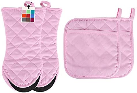 ARCLIBER Oven Mitts and Potholders 4PCS Heat Resistant Kitchen Gloves Cotton Lining Non Slip product image