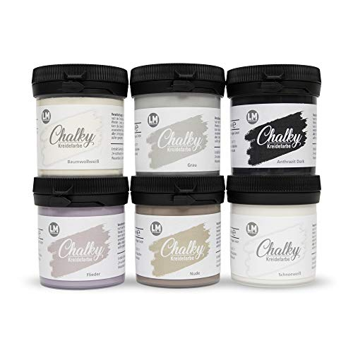 LM-Kreativ Chalky Kreidefarbe 6 x 80ml (Spa) - - Finish Kreide-Farbe für einen Vintage/Shabby-Chic-Look. Die Kreidefarben/Kalkfarbe sind auch als Holzfarbe verwendbar & trocken matt auf