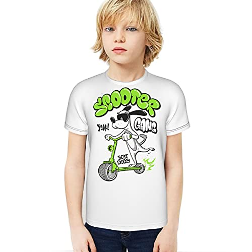 Dibujos animados perro montar un scooter Boy T-Shirt 3D Impreso Camiseta Inicio Studentscartoon Perro Montar Un Scooter Negro