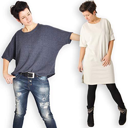 leni pepunkt Schnittmuster Shirt Damen mit Fledermausärmeln in den Größen XS - XXXL zum Nähen mit Kurzanleitung und 5 Webetiketten
