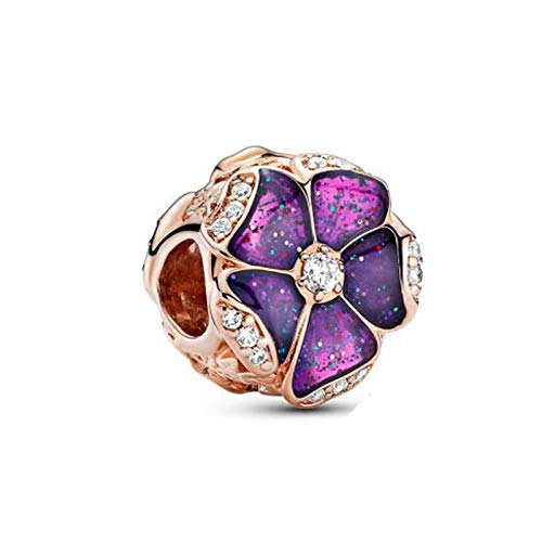 LISHOU DIY 925 Plata Esterlina Otoño Oro Rosa Púrpura Pétalo Ajuste Original Pandora Pulseras Collar para Mujeres Encanto Cuentas Fabricación De Joyas