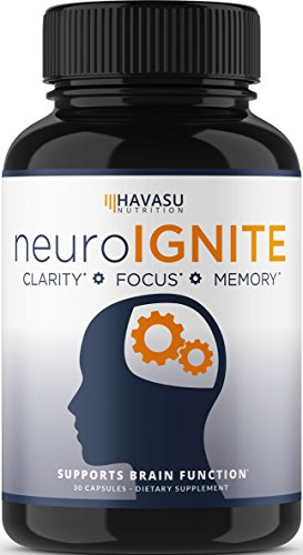 Havasu Nutrition Extra Strength Brain Supplement for Focus, Energy, Memory & Clarity - Mental Performance Nootropic with St Johns Wort - Supports Brain Function for Men & Women - Non-GMO, 30 Capsules