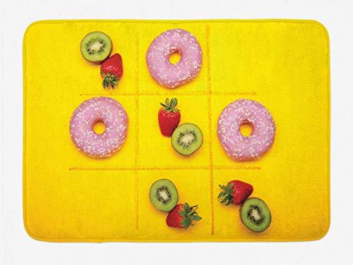 Tic Tac Toe Badematte, berühmtes Strategiespiel, das mit Donuts gegen Obst gespielt wird. Gesunde Lebensmitteloption gewinnt, Plüsch-Badezimmerdekormatte mit rutschfester Unterlage, mehrfarbig