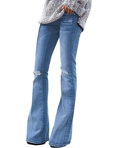Roskiky Damen Stretch Denim Flare Jeans Schlaghosen Ausspülen Wash Out Jeans Hellblau Größe XL