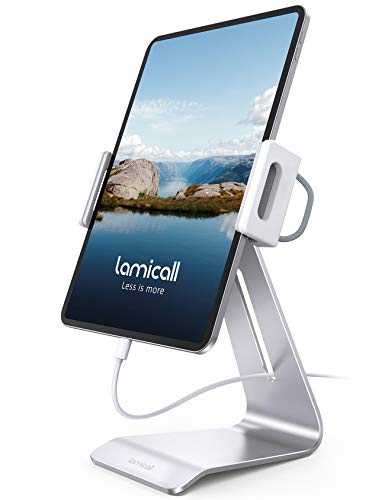 Lamicall Tablet Stand, Adjustable Tablet Holder - 360 Rotating Desktop Stand Mount Dock for iPad Pro 12.9, 11, 10.5, 9.7, iPad Air mini 2 3 4, Switch, Samsung Tab, iPhone, other Tablets - Silver