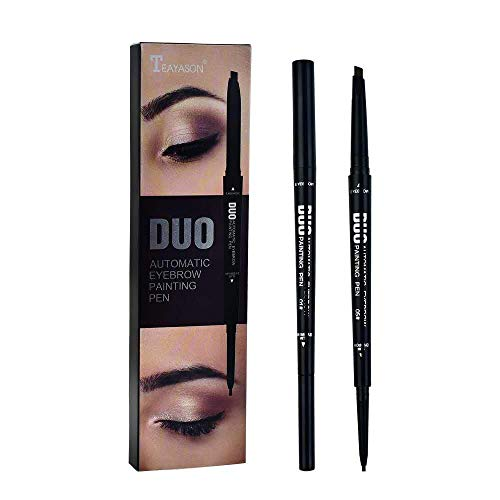 Double-headed ultra-fine eyebrow pencil, auto-rotating triangle eyebrow pencil, durable, waterproof, sweat-proof, five colors to choose from(01#Black)