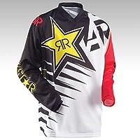 Rスターメンズマウンテンサイクリングバイクジャージーモトクロスダウンヒル長袖MTBATVシャツ通気性/吸湿性Tシャツ付き (白い,XL)