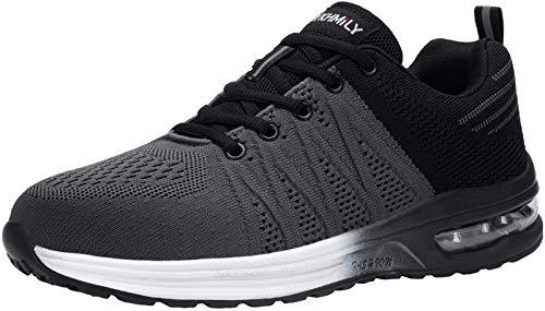 DYKHMILY Zapatillas de Seguridad Hombre Ligeras Comodo Calzado de Seguridad Deportivo con Puntera de Acero Zapatos de Seguridad Trabajo Verano Construcción Zapatos(Negro Gris,45 EU)