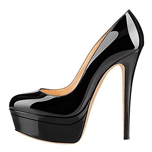 Damenschuhe Pumps High-Heels Stiletto mit Plateau Rutsch Hochzeit Schwarz EU45
