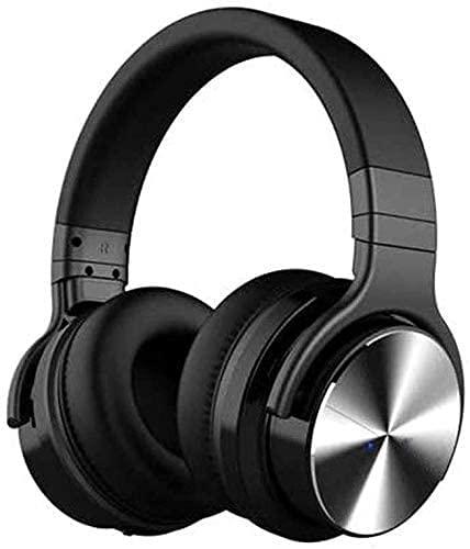 XUERUIGANG Auriculares inalámbricos Bluetooth sobre oído, con micrófono, subwoofers Deportes Auriculares de Deportes de proteínas de la Membrana de la proteína Orejeras de Cuero Largo (Negro)