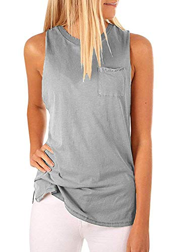Hount High Neck Tank Tops for Women Casual Sleeveless Tops Work (Gray, L)