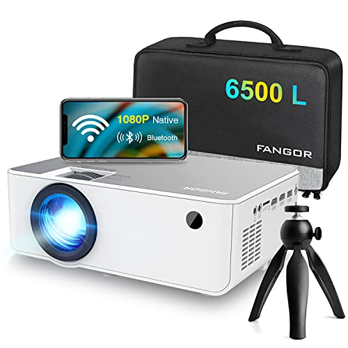 """1080P HD Projector, WiFi Projector Bluetooth Projector, FANGOR 6500 Lumen 230"""" Portable Movie Projector, Home Theater Video Projector Compatible with TV Stick, HDMI, VGA, USB, Laptop, iOS & Android"""