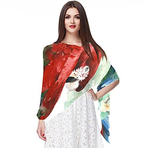 WJJSXKA Bufandas para mujer, estampado liviano, estampado floral, bufanda, chal, bufandas de moda, chales de protección solar, loro