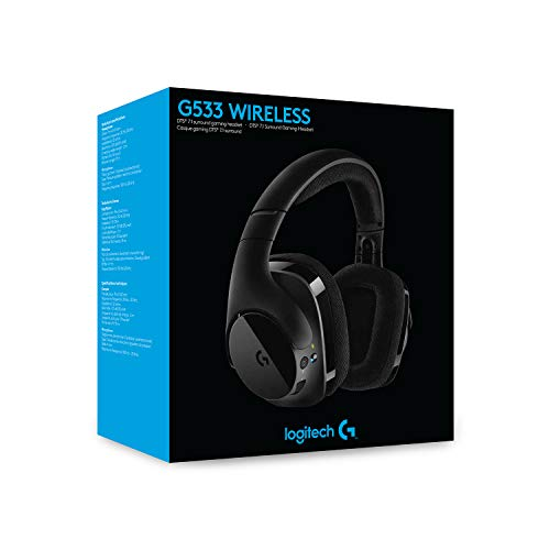 Logitech G533 wireless gaming headset, 7.1 surround sound, DTS headphone: X 3D, 40mm Pro-G driver, 2.4 GHz connection via USB receiver, noise-canceling microphone, 15-hour battery life, PC / Mac