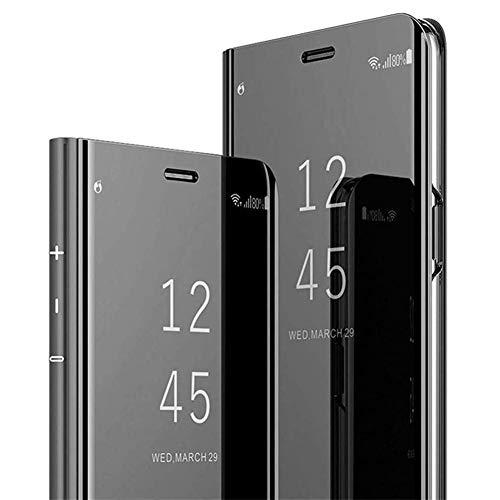 Herbests Kompatibel mit Xiaomi Mi A3 Lite Schutzhülle Flip Spiegel Handyhülle Mirror Case Klapphülle Überzug Clear View Hülle Brieftasche Handytasche Etui Booklet Lederhülle,Schwarz