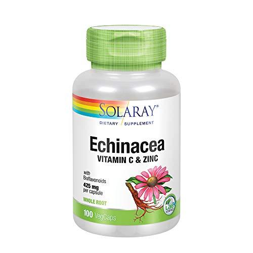 Price comparison product image Solaray Echinacea w / Vitamin C & Zinc 850mg / Immune System Support / W / Bioflavonoids / Non-GMO / 100 VegCaps,  50 Serv.