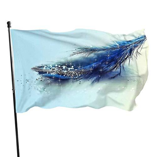 GOSMAO Bandera de Jardín Doble Costura Resistentes a la Decoloración UV Banner de Bandera Decorativo Exterior Fiesta Mardi Gras para Patio Césped Pluma 150X90cm