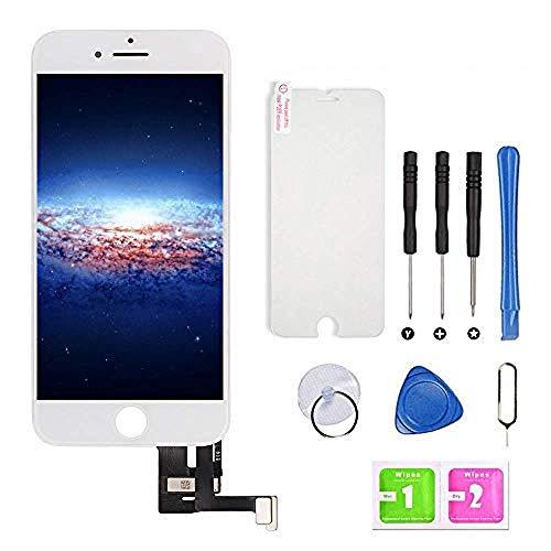 Hoonyer Display per iPhone 7 Plus Schermo(5,5 Pollici) LCD Touch Screen Frame Bianco Vetro Schermo Kit Smontaggio Trasformazione Completo di Ricambio Utensili Inclusi