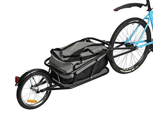 Fiximaster Einrad Fahrrad Frachtanhänger Stahlrahmen Gepäck Fahrradanhänger Transportanhänger Handwagen Tragfähigkeit 30 kg Mit wasserdichter Tasche 8002T Grau