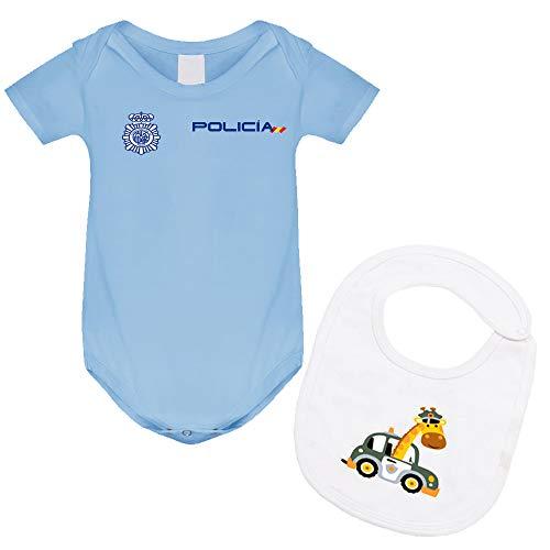 body bebé policía nacional y babero, regalo original para recién nacidos. (Azul, 12 Meses)