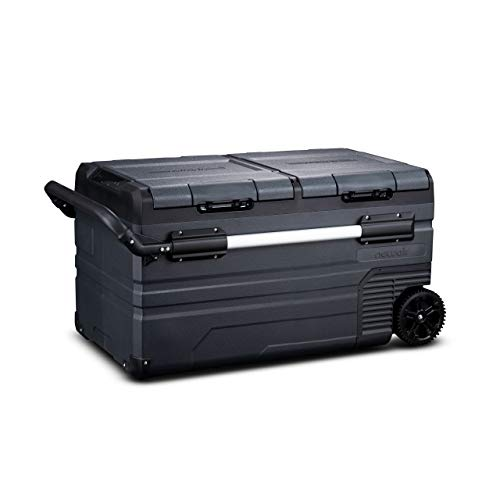 NewAir Portable 80 Qt. Electric Car Camping Cooler with 4 Battery Protection Modes, Dual Zone Fridge and Freezer Storage, Retractable Handle, Outdoor Wheels and Rugged Construction