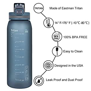 Opard 30oz Sports Water Bottle with Leak Proof Flip Top Lid BPA Free Tritan Reusable Plastic for Gym and Outdoor (Blue)