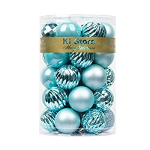 KI Store 34ct Christmas Ball Ornaments Shatterproof July 4th Patriotic Decor Christmas Decorations Tree Balls SMALL for…