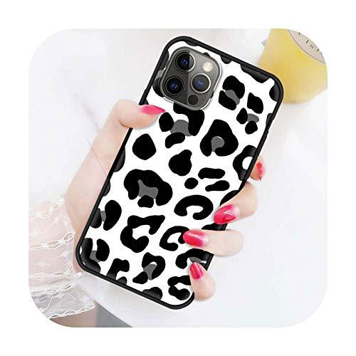 Funda del teléfono para el iPhone 11 7 12 Pro negro suave capa para iPhone XR X XS Max 6 6S 8 Plus SE cubierta moda leopardo impresión -B03-para iPhone 6 6S
