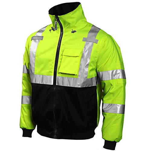 Tingley J26002.LG Job Sight High-Visibility Bomber Jacket, Large, Hi/Vis Yellow