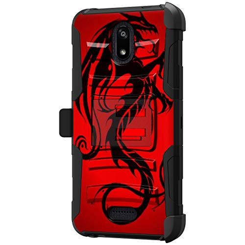 TurtleArmor | Compatible with Cricket Icon Case | Wiko Ride Case | Radiant Core Case [Hyper Shock] Hybrid Dual Layer Armor Holster Belt Clip Case Kickstand - Red Dragon