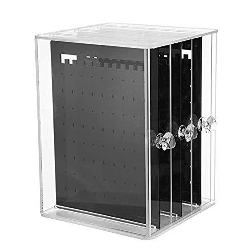 ACAMPTAR 3 Sostenedor de Arete del Cajón Vertical Caja de Almacenamiento de Joyas Sostenedor de Exhibición Transparente Soporte de Joya Cajas de Almacenamiento Negro