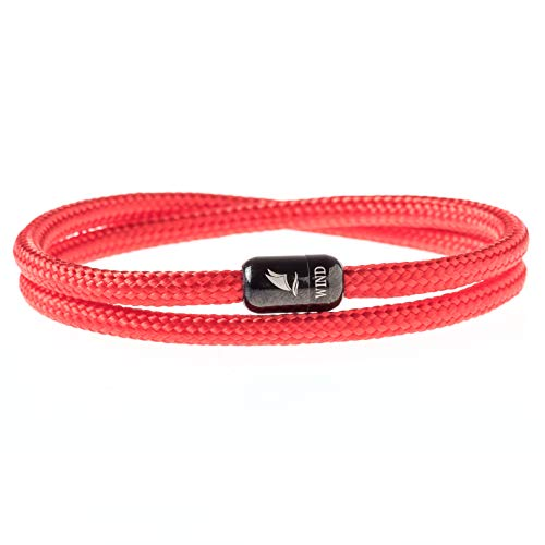 Wind Passion Pulsera Roja Magnética de Cuerda Trenzada Nautica para Hombre y Mujer, Tall Large