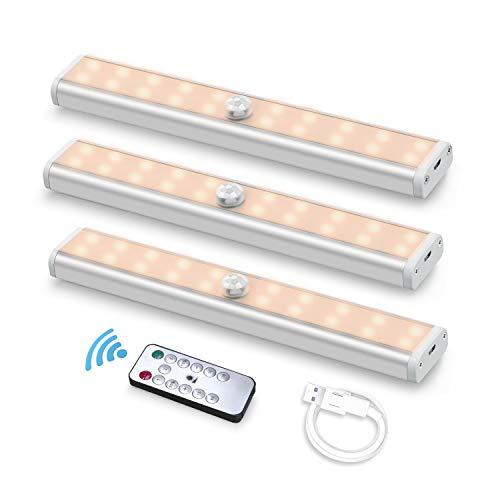 Fansteck 3pcs LED Armario, LED Sensor Movimiento, Luces Armario, Luz LED, Luz Armario Recargable, Luz Nocturna 60 LED Luz Blanca Cálida Apagado Automático para Escalera Armario Pasillo Cocina