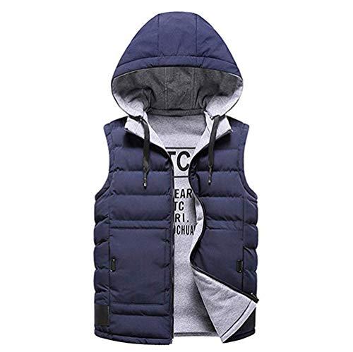 AZUOYI Gilets Heren Mouwloze Jumpers Gebreide Gilets Jacket Vest met Uitneembare Capuchon Gevoerd met Katoen Fit Winter Jas Mouwloze Transitie Jas Outdoor Run Camping