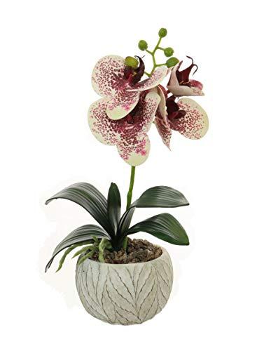 Home Decor 4U - Orquídea artificial en maceta, 32 cm, Phalaenopsis, Planta Artificial, Orquídea, Flor Artificial, Centro de mesa, Orquídea Falsa, Plantas Falsas, Flores Artificiales