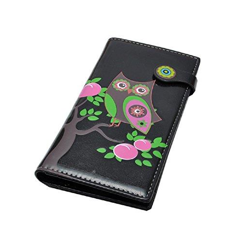 Design Geldbörse Damen Portemonnaie Langbörse Eule Uhu Kauz (schwarz)