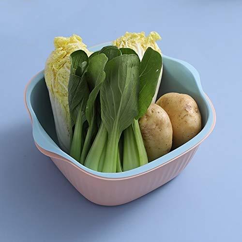 NOBRAND Desagüe de la Cocina CCI 5 PCS for el hogar Creativo de la Sala en Dos Colores con Drenaje Cesta Cocina multifunción Doble de Frutas Cesta Vegetal, Tamaño: M (Azul Rosa) escurridor