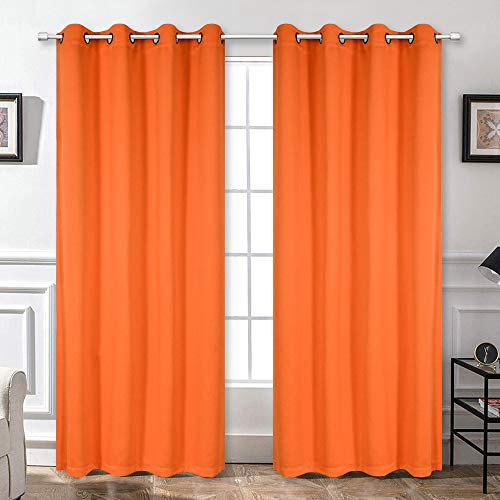 Blackout Bedroom Curtains Panels 84 Inch - Energy Saving Thermal Insulated Privacy Protect Antique Copper Grommet Sun Block Drapes for Living Room, 1 Pair, 52 by 84 Inch, Vibrant Orange